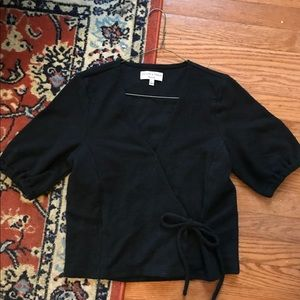 Texture & Thread Puff-Sleeve Wrap Top
